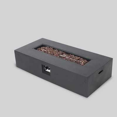 "Ixtapa 56"" MGO Gas Fire Table with Tank Holder- Rectangular - Dark Gray - Christopher Knight Home"