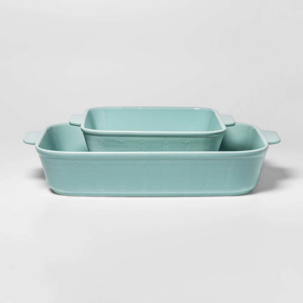 Image of 2pc Embossed Rectangular Bakeware Set Aqua - Threshold