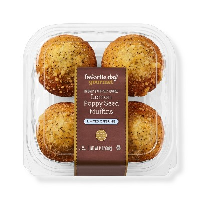 Lemon Poppy Seed Muffins - 14oz/4ct - Favorite Day™