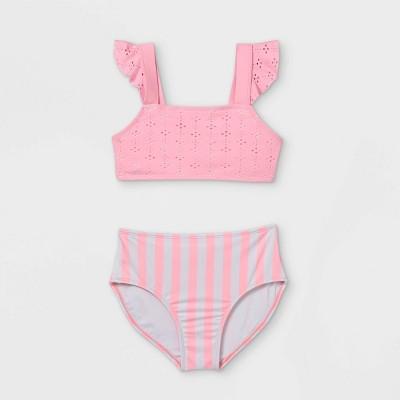 Girls' Eyelet and Striped 2pc Bikini Set - Cat & Jack™ Pink