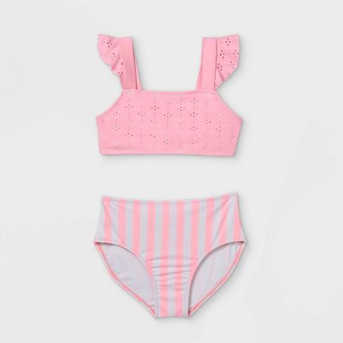 Girls' Eyelet and Striped 2pc Bikini Set - Cat & Jack™ Pink - image 1 of 2