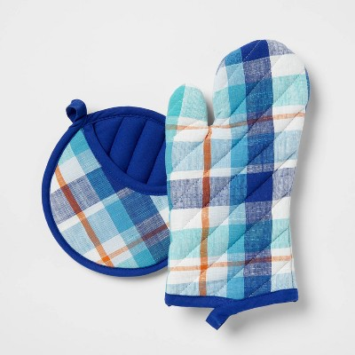 2pc Cotton Plaid Oven Mitt and Pot Holder Set Blue - Opalhouse™