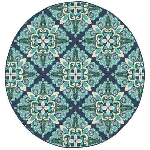 Marlowe Medallion Patio Rug Blue/Green - image 1 of 4