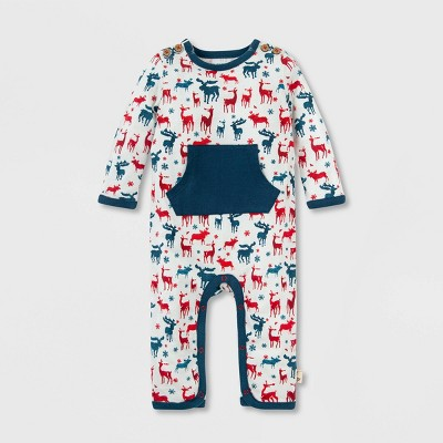 Burt's Bees Baby® Baby Boys' Organic Cotton 'Stags in Snow' Jumpsuit - Blue 6M
