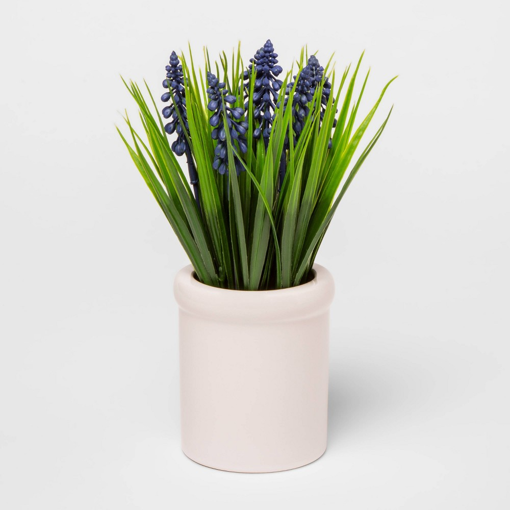 "Image of ""10.5"""" x 4"""" Artificial Grape Hyacinth in Ceramic Pot Purple/Cream - Threshold"""