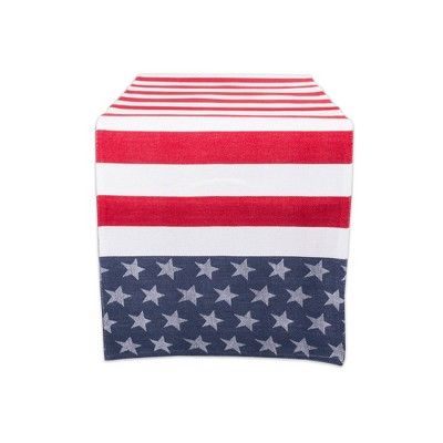 "54""x14"" Stars & Stripes Table Runner Blue/Red - Design Imports"