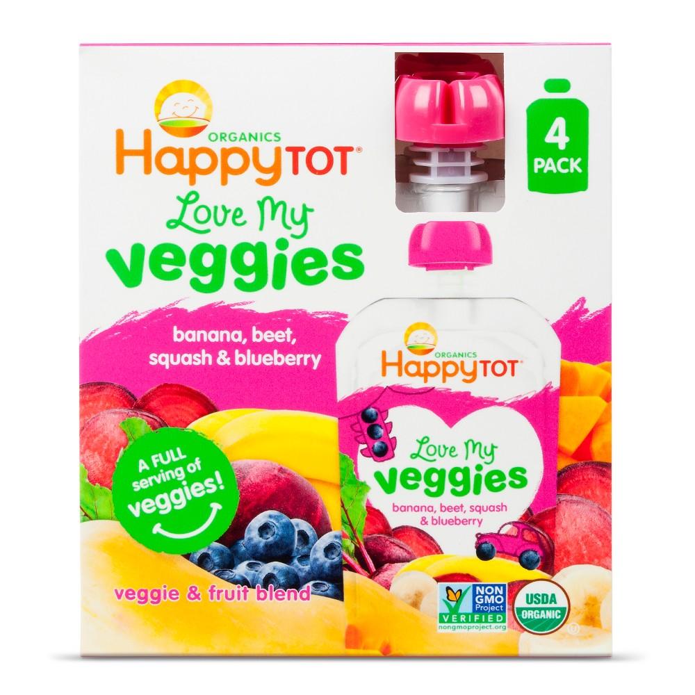 Happy Tot Love My Veggies, Banana Beet Squash Blueberry - 4.22oz (4pk)