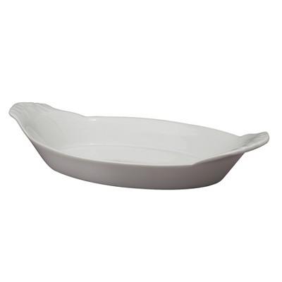 HIC Harold Import Co White Porcelain 10 Inch Au Gratin Oval Baking Dish