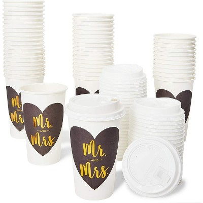 Sparkle and Bash 48-Pack Mr and Mrs Insulated Disposable Coffee Cups with Lids, 16oz Paper Hot Cup to Go