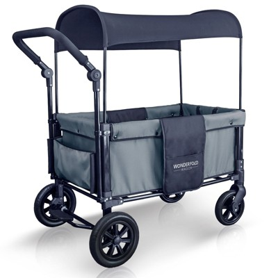 Wonderfold 2 Passenger Push Folding Stroller Wagon, with Canopy, Smoky Gray