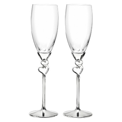 Entwined Hearts Wedding Champagne Flutes
