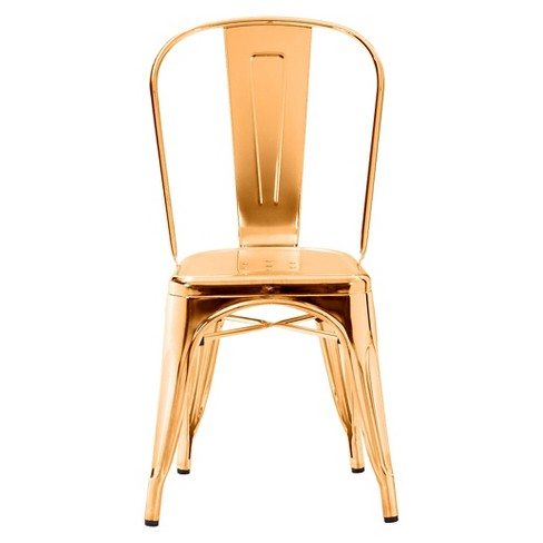 dc49b62ce5ab Industrial Style Metal Dining Chairs (Set Of 2) - Gold - ZM Home   Target
