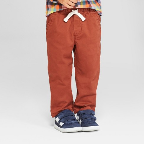 Toddler Boys' Elastic Waistband and Flexible Drawstring Chino - Cat & Jack™ Rust - image 1 of 3