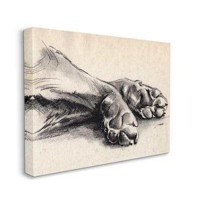 Stupell Industries Dog Paw Charcoal Design Minimal Tan Black