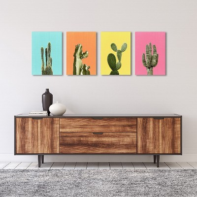 Americanflat Cactus Art Set by LILA + LOLA - 4 Piece Wrapped Canvas Set