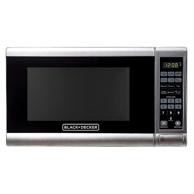 Black+Decker EM720CPY-PM 0.7 Cubic Foot 700 Watt Compact Stainless Steel LED Display Countertop Microwave Oven Kitchen Appliance w/ 10 Inch Turntable