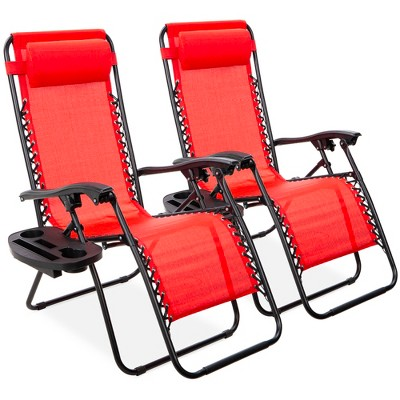 Best Choice Products Set of 2 Adjustable Zero Gravity Lounge Chair Recliners for Patio, Pool w/ Cup Holders
