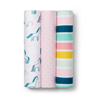 Muslin Swaddle Blankets Unicorn - 3pk - Cloud Island™