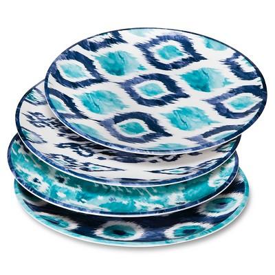 Boho Boutique Melamine Dinner Plates 10.5  - Ikat Blue - Set of 4