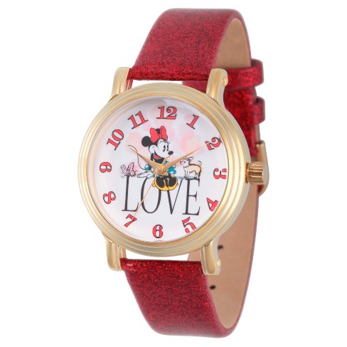 Women's Disney Minnie Mouse Gold Vintage Alloy Watch - Red - image 1 of 1