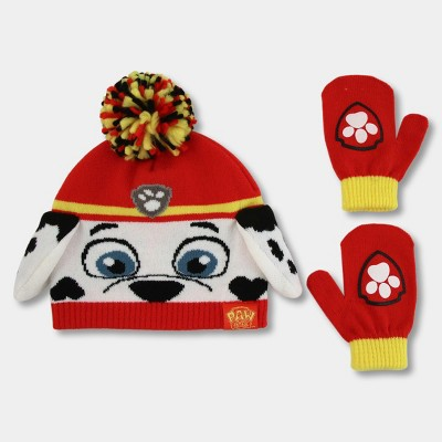 Toddler Boys' PAW Patrol Hat and Mitten Set - Red One Size