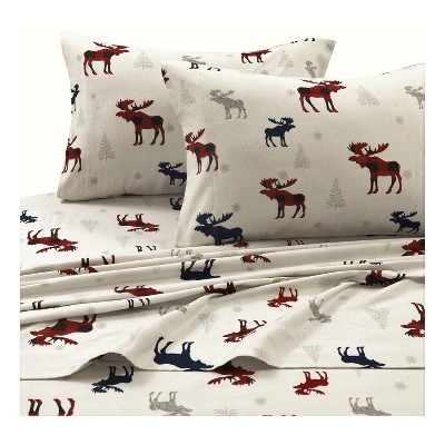 Printed Cotton Flannel Extra Deep Pocket (Full)Sheet Set Ivory - Tribeca Living