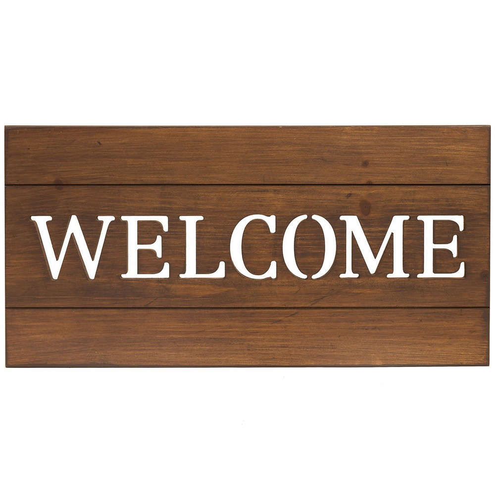 "Image of ""12""""x24"""" Welcome Cut Out Wood Plank Wall Art Brown - Patton Wall Decor"""