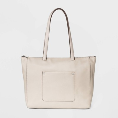 Zip Closure Top Tote Handbag - A New Day™ Beige