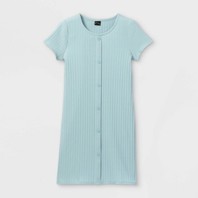 Girls' Button-Front Short Sleeve Ribbed Dress - art class™