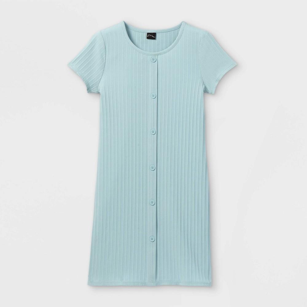 Girls 39 Button Front Short Sleeve Ribbed Dress Art Class 8482 Light Blue Xl