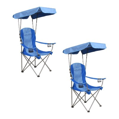 Kamp-Rite KAMPCC466 Outdoor Camping Furniture Beach Patio Sports Folding Quad Lawn Chair with Shade Canopy and Cup Holders, Blue (2 Pack)