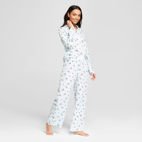 Women's Tencel Floral Printed Houseplant Notch Collar Pajama Set - Gilligan & O'Malley™ Blue - image 1 of 2