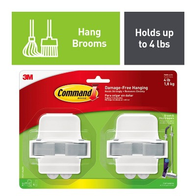 Command Broom & Mop Gripper 2 Grippers - 4 Strips/Pack