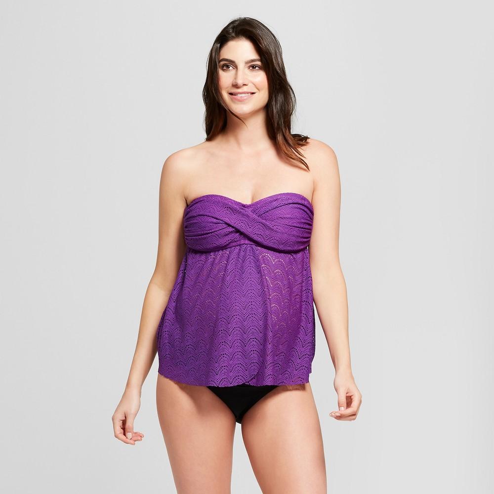 Maternity D/DD Cup Crochet Flyaway Tankini - Isabel Maternity by Ingrid & Isabel Purple Rain S, Women's, Size: S D/DD