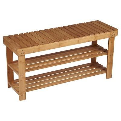 Household Essentials® 2-Tier Shoe Storage Bench - Bamboo