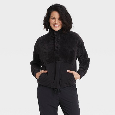 Women's Snap Front Cozy Sherpa Pullover Sweatshirt - All in Motion™