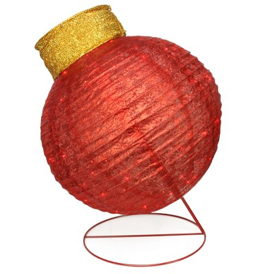 """Northlight 36"""" Pre-Lit Red LED Glitter Ball Ornament Outdoor Christmas Yard Decor"""