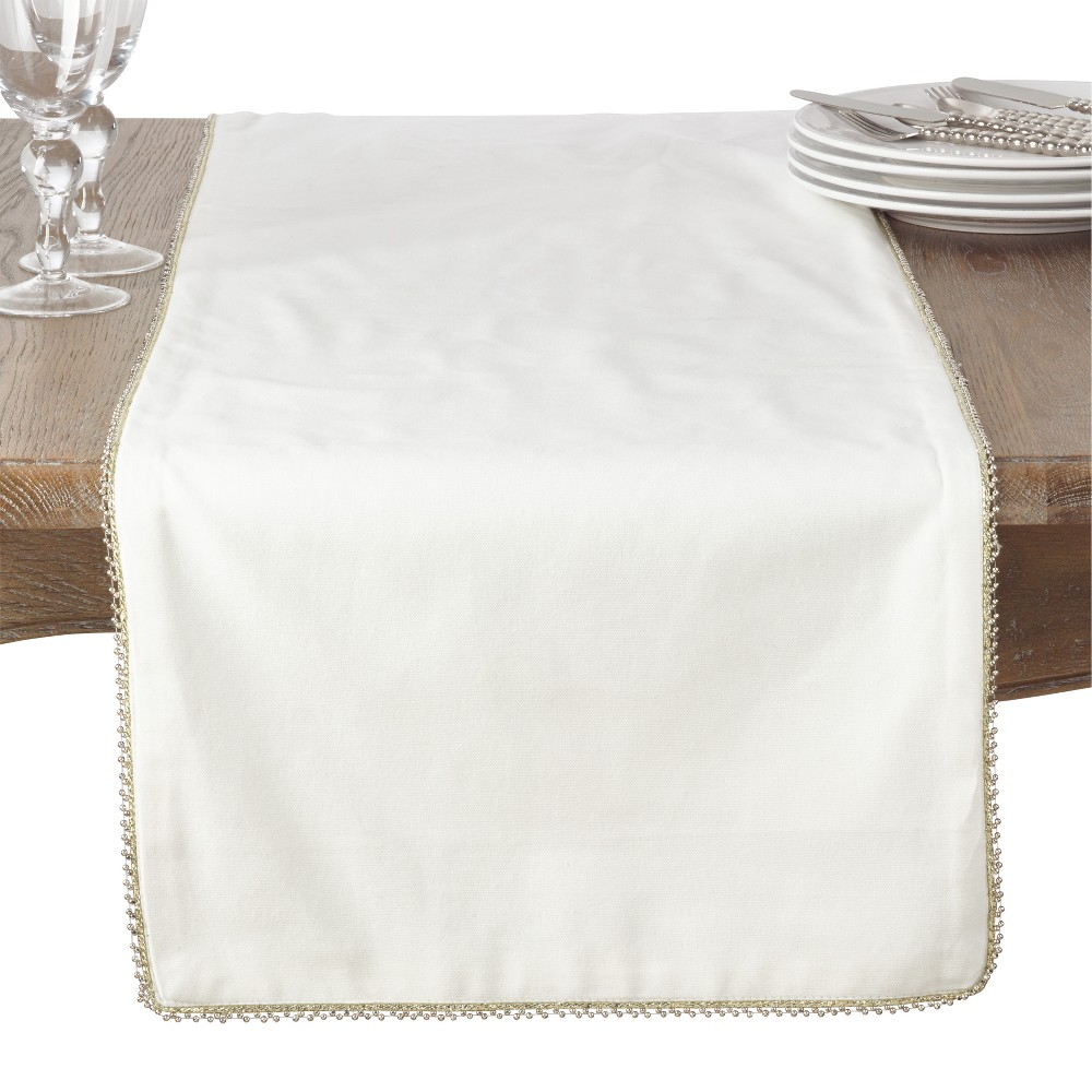 Ivory Solid Table Runner - Saro Lifestyle