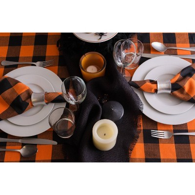 "60""x104"" Buffalo Check Tablecloth Orange - Design Imports"