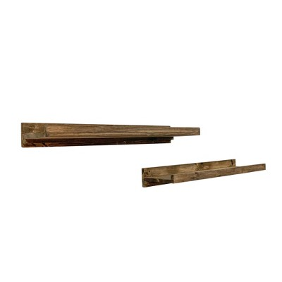 del Hutson Designs 20 Inch Rustic Luxe Farmhouse Solid Natural Pine Wood Wall Mount Display Picture Ledge Floating Shelf Pair, Dark Walnut (Set of 2)