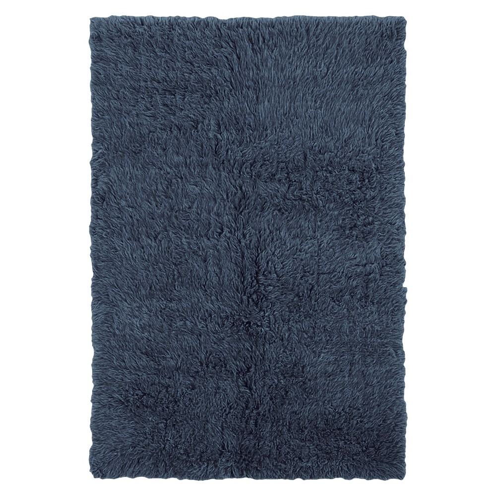 Image of 100% New Zealand Wool Flokati Accent Rug - Denim Blue (2'X6')