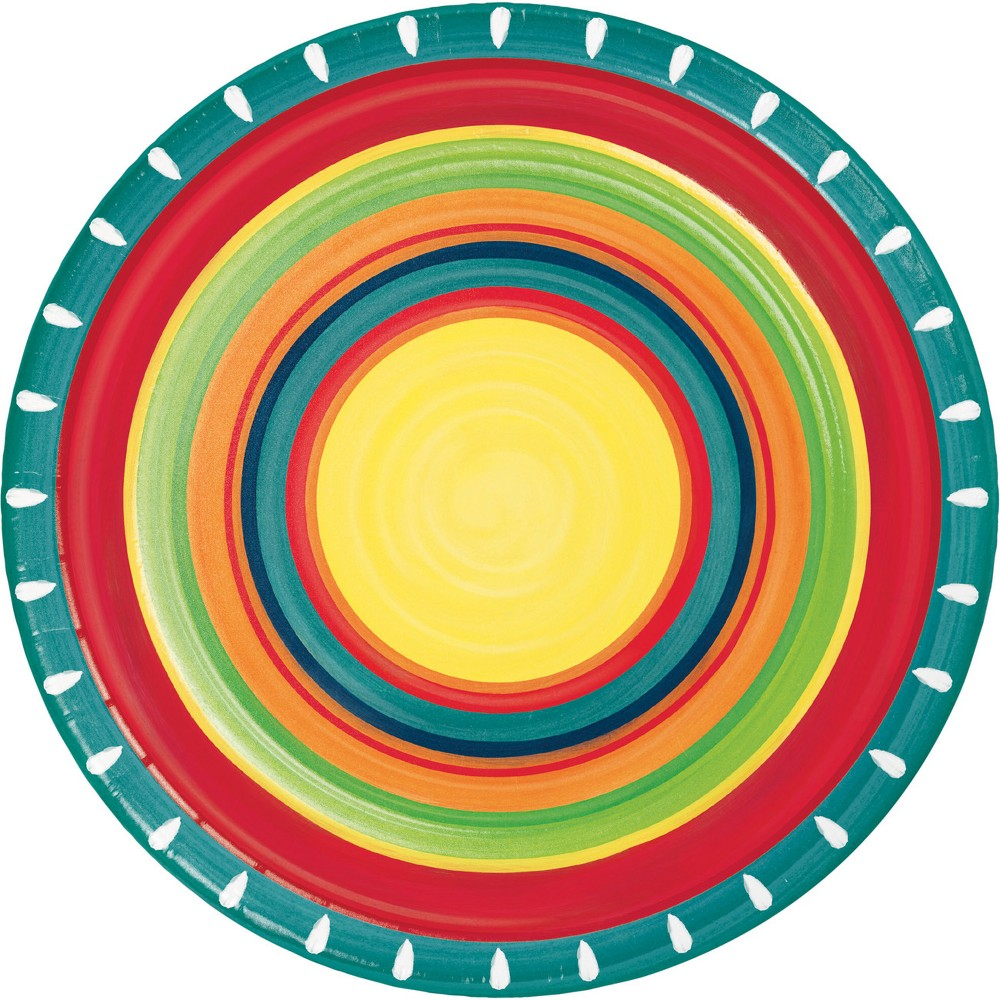 24ct Summer Stoneware Paper Plates Red