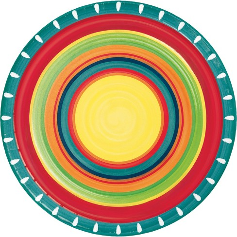 24ct Summer Stoneware Paper Plates Red - image 1 of 3
