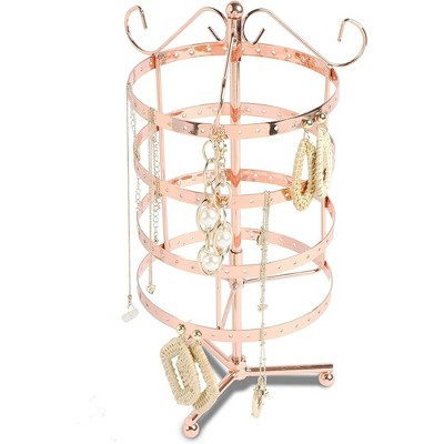 4 Tier Rose Gold Jewelry Display Stand Rotating Necklaces Barcelets Earrings Organizer Tower