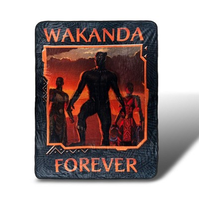 Surreal Entertainment Black Panther Wakanda Forever Lightweight Fleece Throw Blanket | 45 x 60 inches