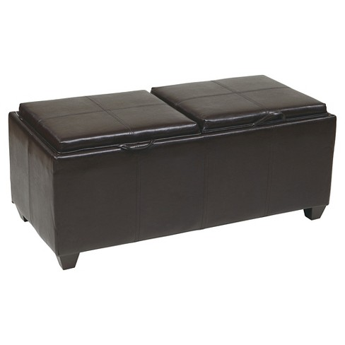 Storage Ottoman with Dual Trays and Seat Cushions Espresso - Office Star - image 1 of 2