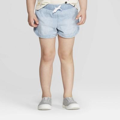 Toddler Girls' Woven Pull-On Shorts - Cat & Jack™ Light Blue 12M