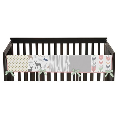 Sweet Jojo Designs Front Crib Rail Guard Cover - Coral & Mint Woodsy