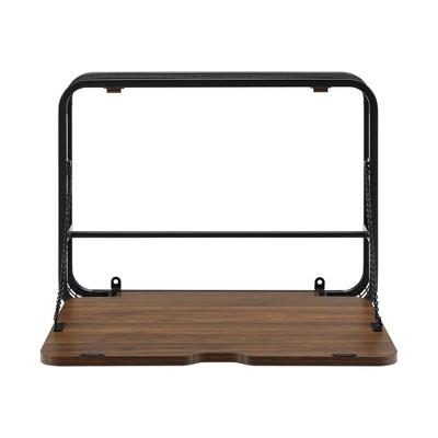 Sylvain Urban Industrial Metal and Wood Floating Wall Desk - Saracina Home
