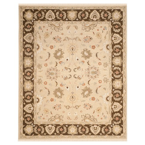 Ivory Brown Botanical Woven Area Rug 10 X14